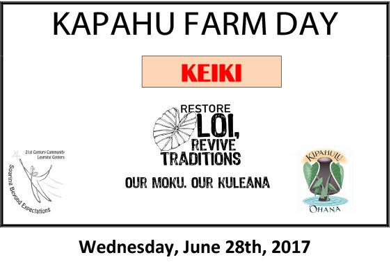 Kapahu Farm Day for Keiki June 28