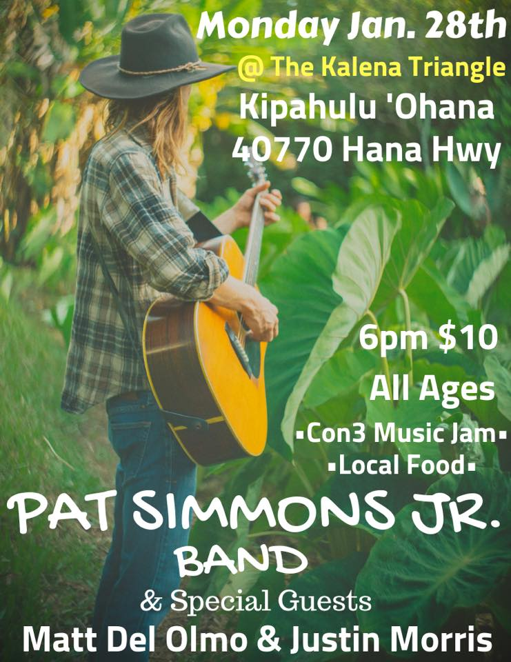 Pat Simmons Jr. Band Benefit Concert at Kalena Triangle 1/28/19
