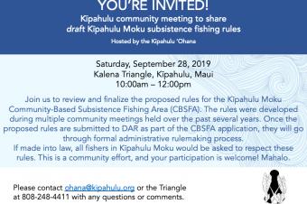 Kipahulu Moku CBSFA Community Meeting 9/28